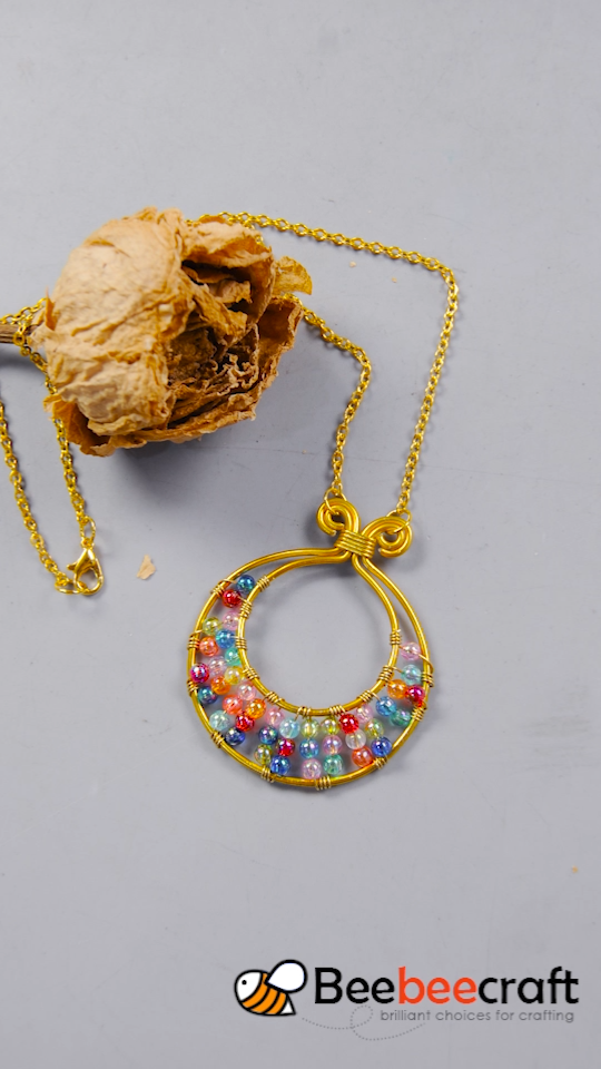 Photo of #Beebeecraft tutorial on making golden #necklace with colorful #acrylicbeads #je…