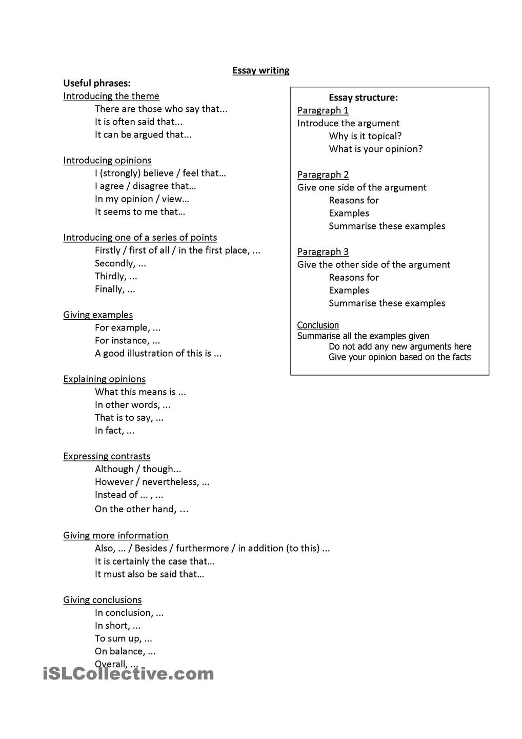 small resolution of Useful phrases for Essay Writing   Essay writing