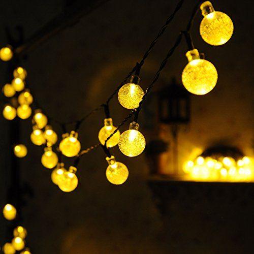 30 led guirlande lumineuse solaire globeblanc chaud extérieure boules jardin de uping amazon fr luminaires et eclairage
