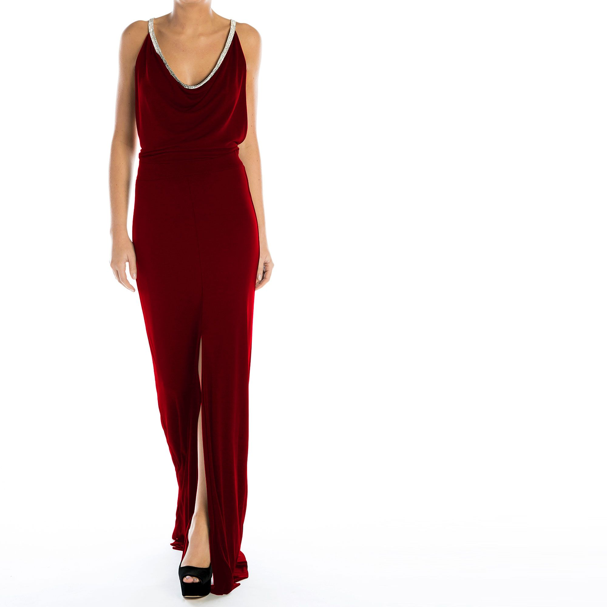 High Society Gown, low cut back, jewel tones, swarovski detailing