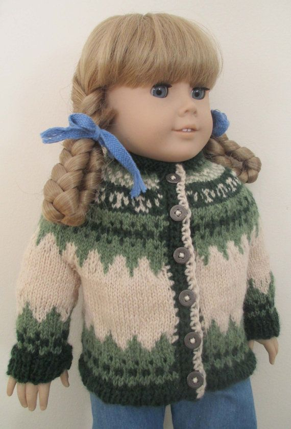 HandKnit Wool Icelandic Cardigan for 18 inch by FlossiePotter, $29.95