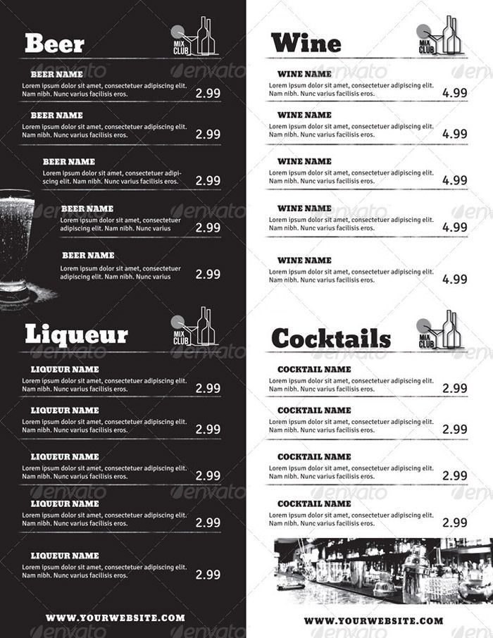 drinks menu templates free - Maggilocustdesign