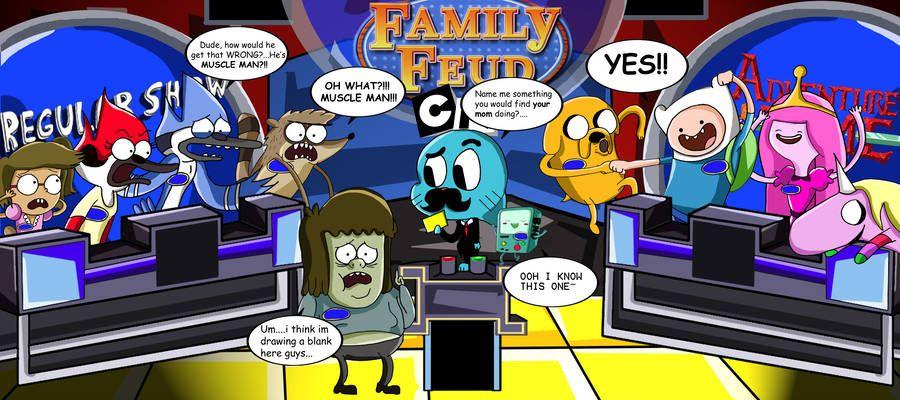 Regular Show Vs Adventure Time Family Feud By Https Www Deviantart Com Xeternalflamebryx On Deviantart Regular Show Adventure Time Family Feud