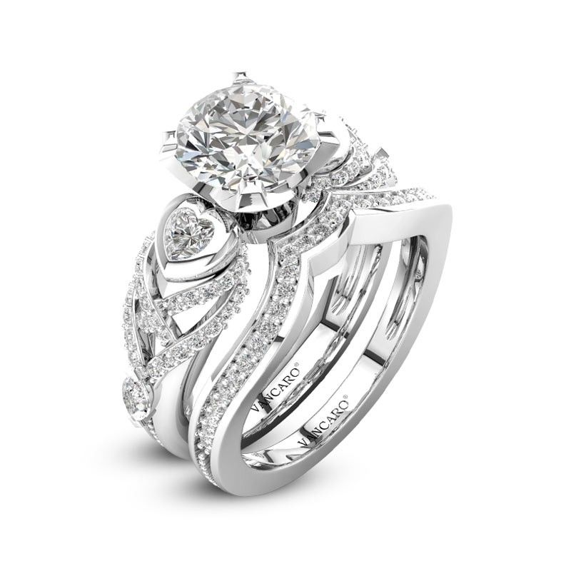 Round White Cubic Zirconia Bridal Set With Heart Shape Side Stone For Women Wedding Ring