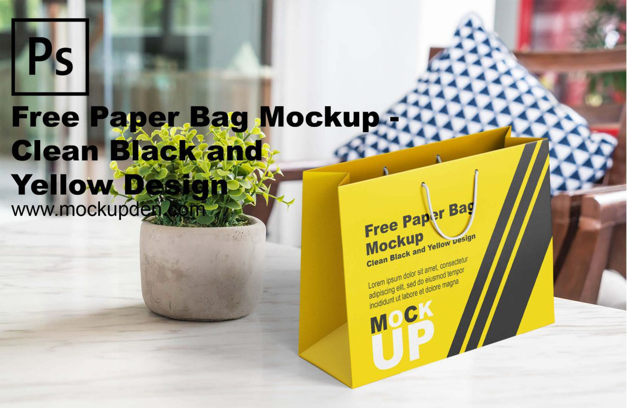 Download Free Black And Yellow Paper Bag Mockup Bag Mockup Yellow Paper Paper