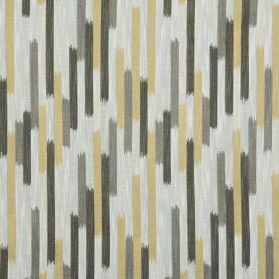 Grey Yellow Woven Ikat Upholstery Fabric by PopDecorFabrics