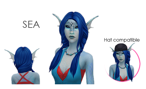 Sea I Just Had To Make A Playful Hair For The Mermaids After Hearing Their Giggle Aaanyway Same Old Things Base Game Compatible E Sea Hair Sims 4 Cc Sims 4