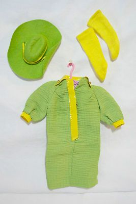 """Vintage BARBIE MATTEL GREEN MOD DRESS WESTERN HAT YELLOW STOCKINGS RARE    Seller information  justinsublime (1905  )    99.9%Positive feedback  Save this seller  See other items     AdChoice  Item condition:Used  """"VERY WELL TAKEN CARE OF""""  Time left: 6d 22h (Jun 16, 2013 18:20:13 PDT)  Starting bid:US $7.77  [0 bids ]"""