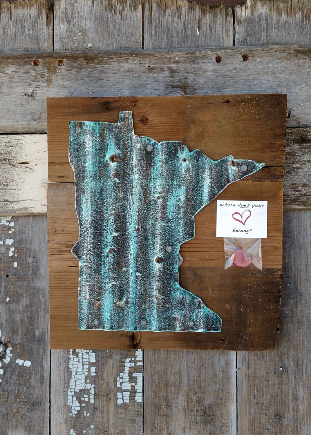 Any State, Corrugated MN State on Barn Wood, Rustic Minnesota, Rustic Home  Decor,Reclaimed Wood,MN Wall Art, Distressed Sign 12