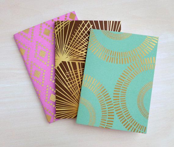 Foil Stamped Pocket Journal Set by finedaypress on Etsy