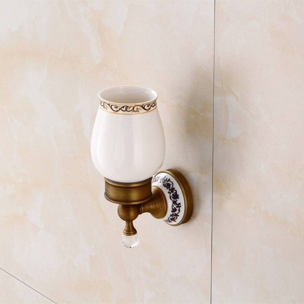 Cup Amp Amp Tumbler Crystal Antique Brass Toothbrush Holder
