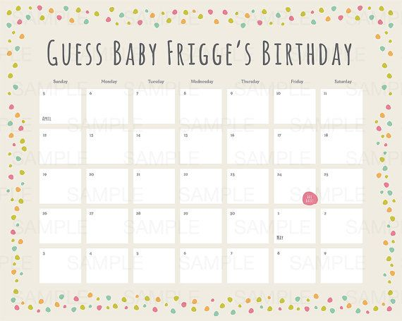 This customizable calendar is the perfect activity to set up for a - baby shower guest list template