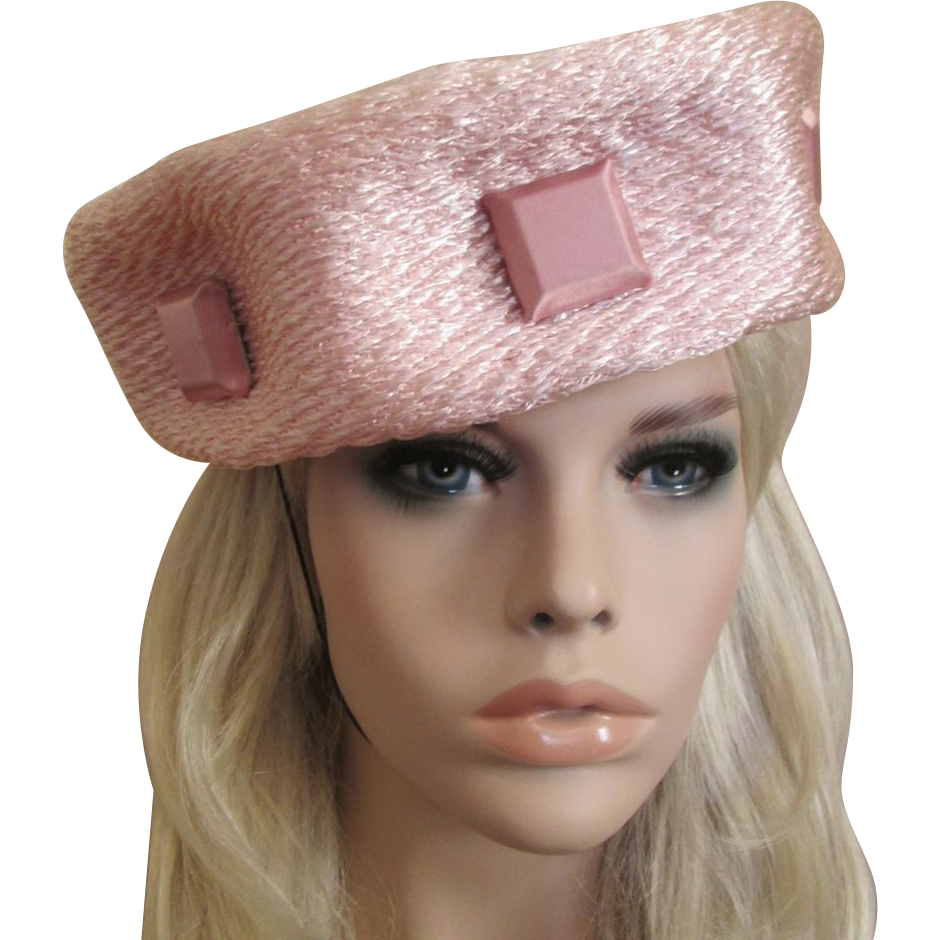 922798afbe9f Pink Pillox Hat Vintage 1950s Shimmery Woven Straw Square Buttons Stephen  Anne offered by Vanity Flair Vintage on #rubylane