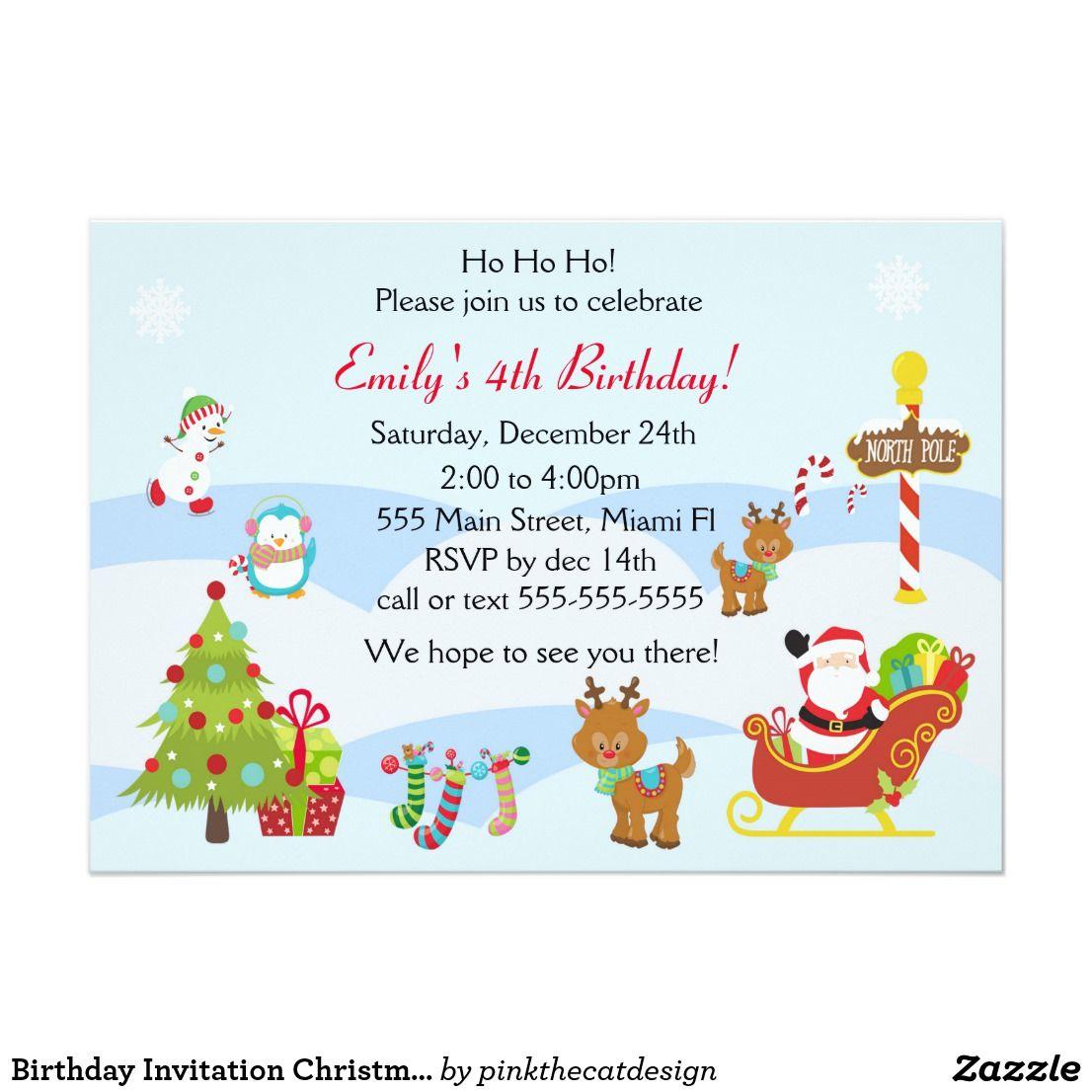 birthday invitation christmas kids party in 2018 wedding