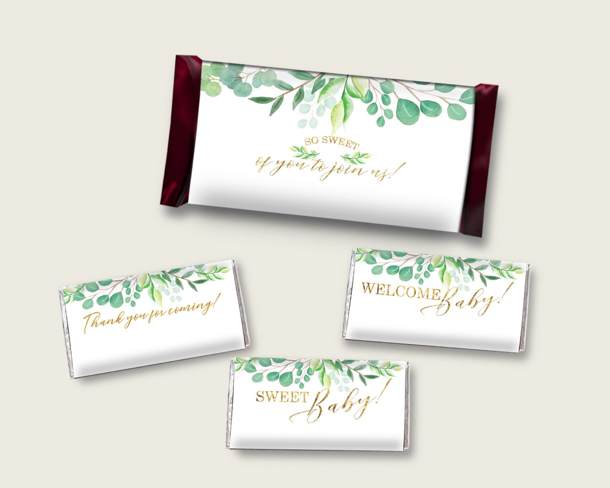 Greenery Hershey Candy Bar Wrapper Printable Green Gold