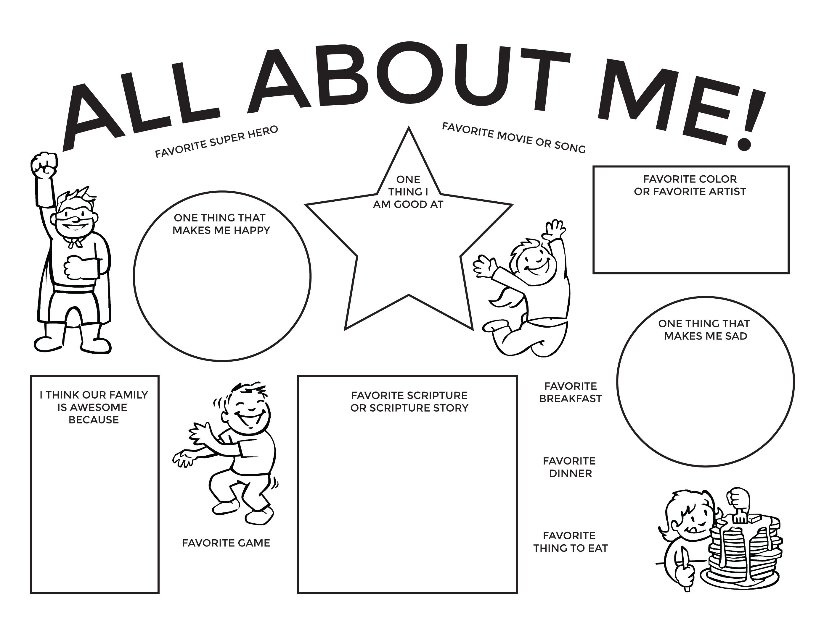 All About Me Family Home Evening Printable