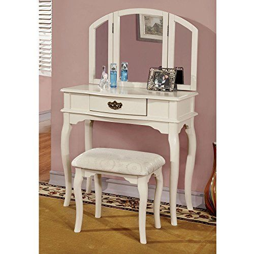 1PerfectChoice Winnette White Wood Tri-Folding Mirror Makeup Table ...