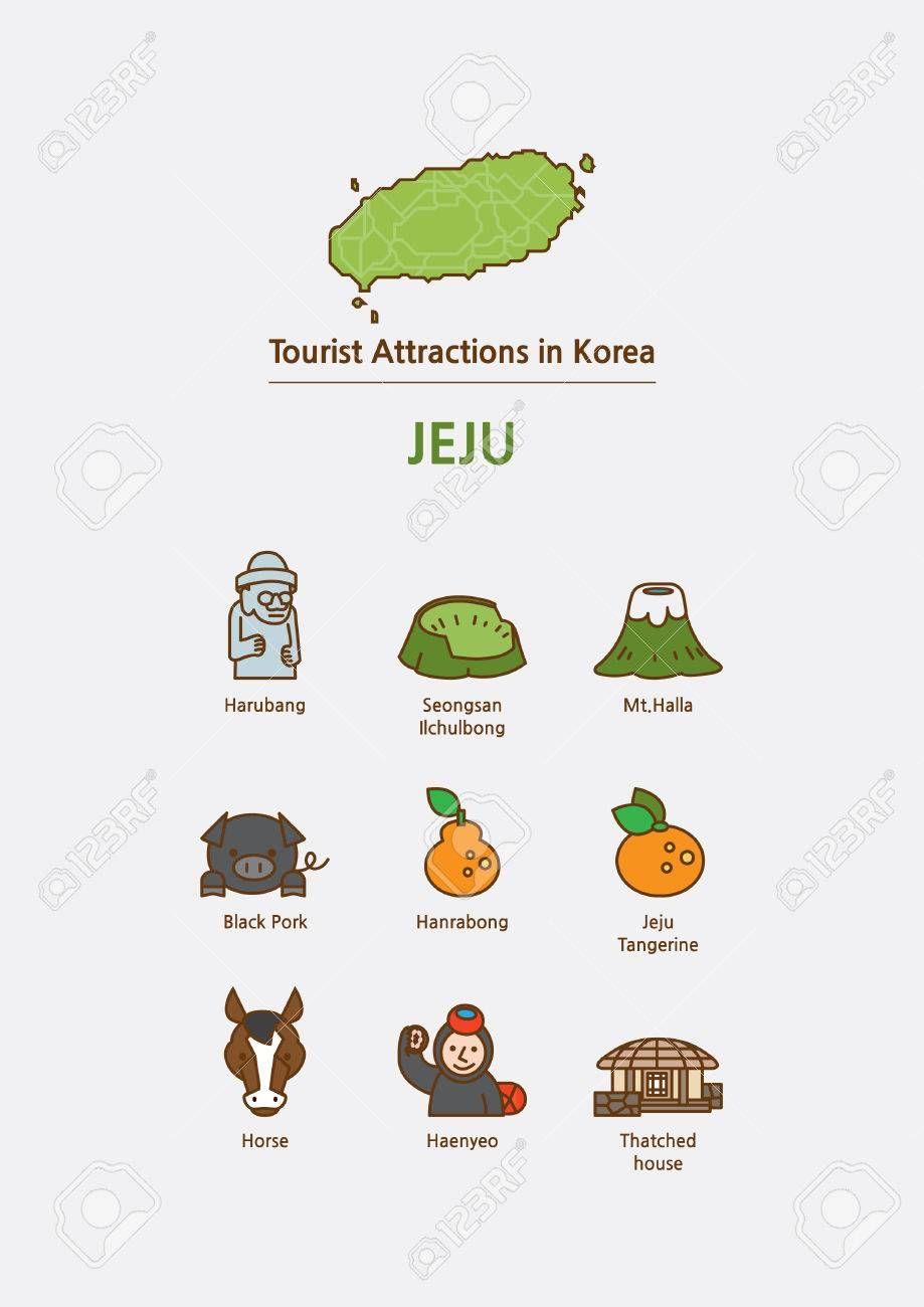 Stock Vector Korea map, Seoul korea travel, Jeju island