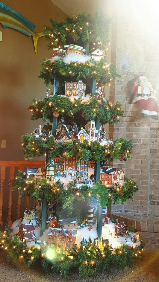 Christmas Tree Village Display Combination Layers Separate For Easy Storage Christmas Tree Village Display Christmas Tree Village Christmas Tree
