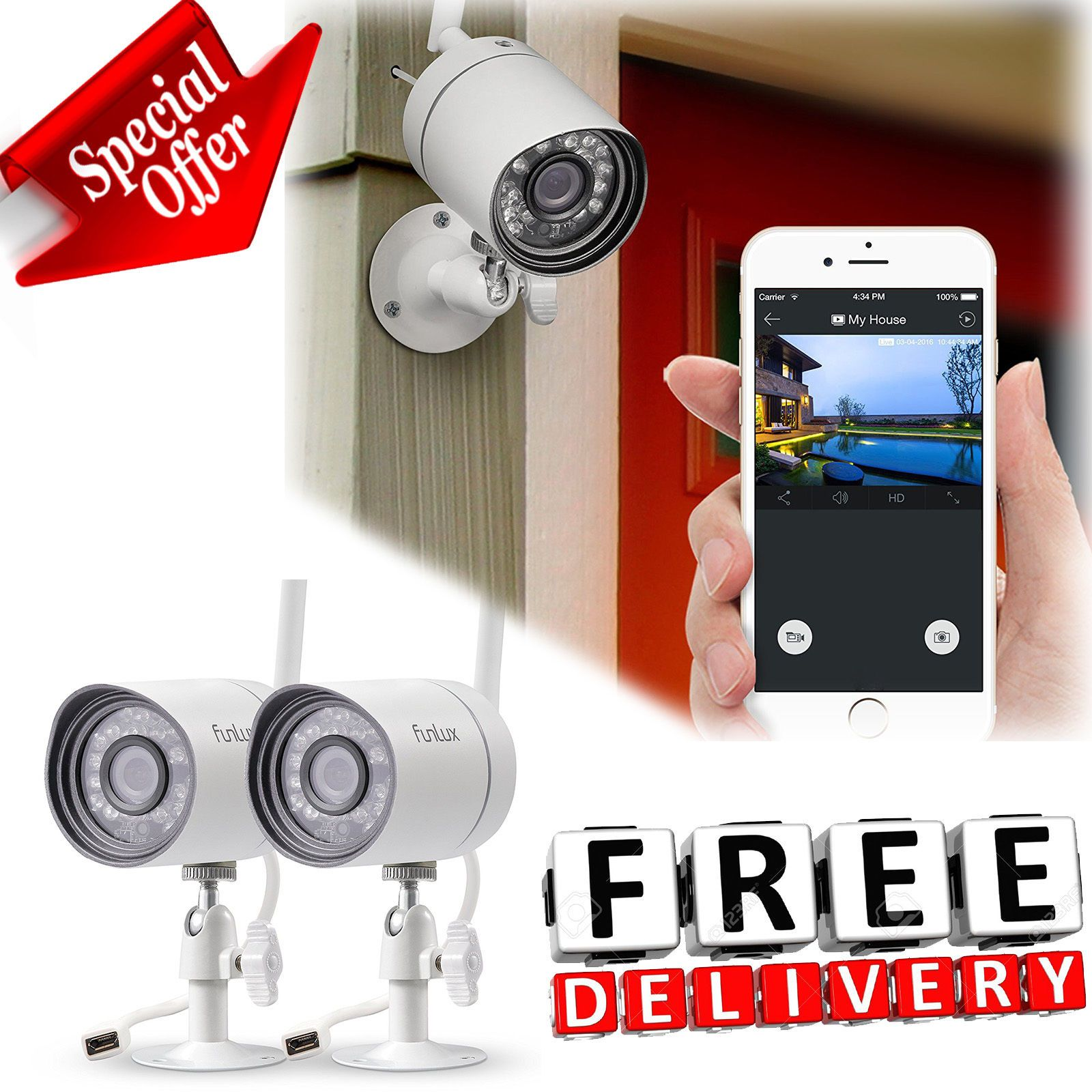 Wireless Outdoor Security Camera System 720p Video Home Indoor Night Vision New Security Camera System Outdoor Security Camera Wireless Security Camera Outdoor