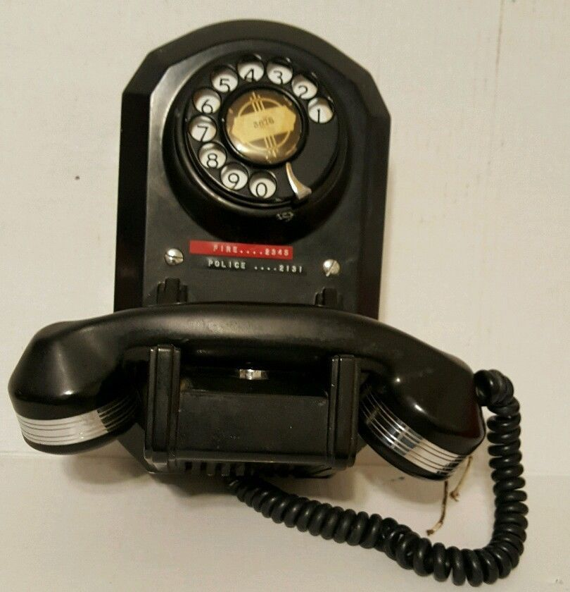 """Vintage Unique Black Rotary Dial Wall Mount """"Coffin"""" Telephone Monophone Phone"""