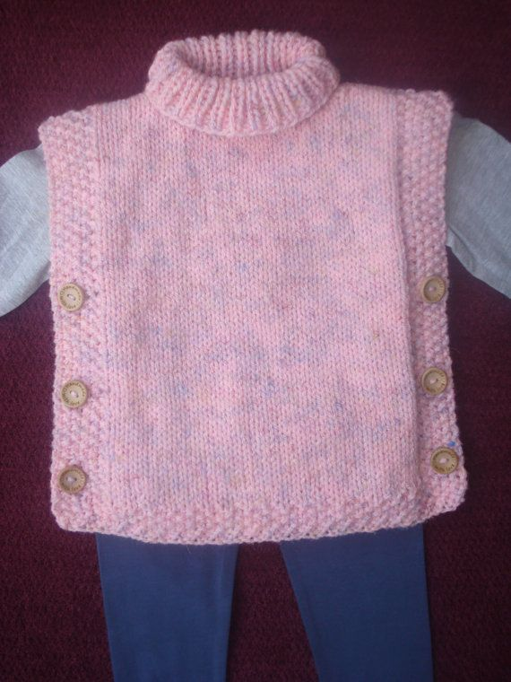Tabard Sleevless Top Jacket Poncho Hand Knitted in by Rootspins