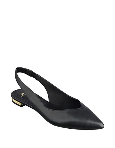 Marc Fisher Ltd Silvia Point-Toe Leather Slingback Flats Women's Black
