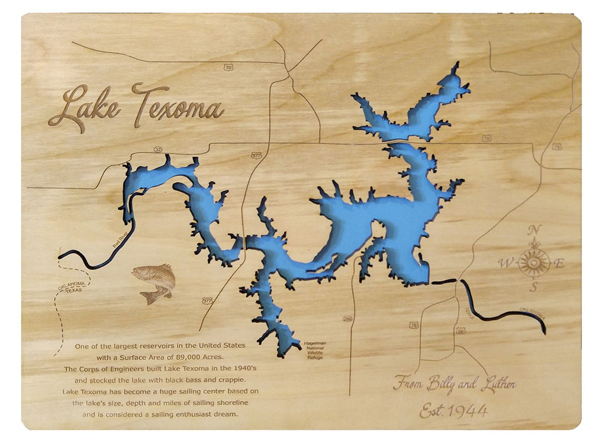 Lake Texoma, Texas and Oklahoma - Wood Laser Cut Map in 2019 | Lake ...