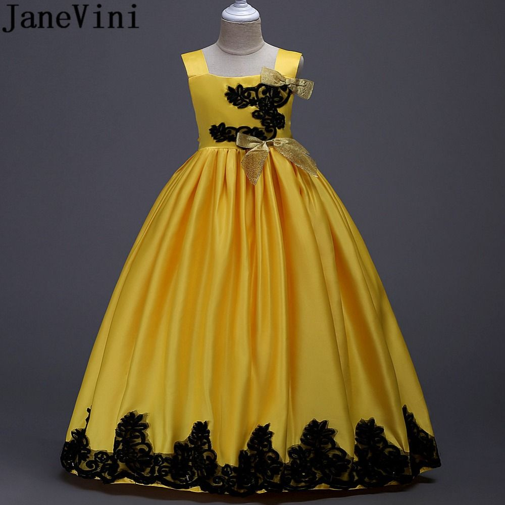 Black and yellow dress kids  JaneVini Black Lace Girls Party Prom Dress Satin Bow Flower Girl