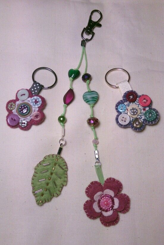Button keyrings and beaded flower bag charm by Claire McKay.