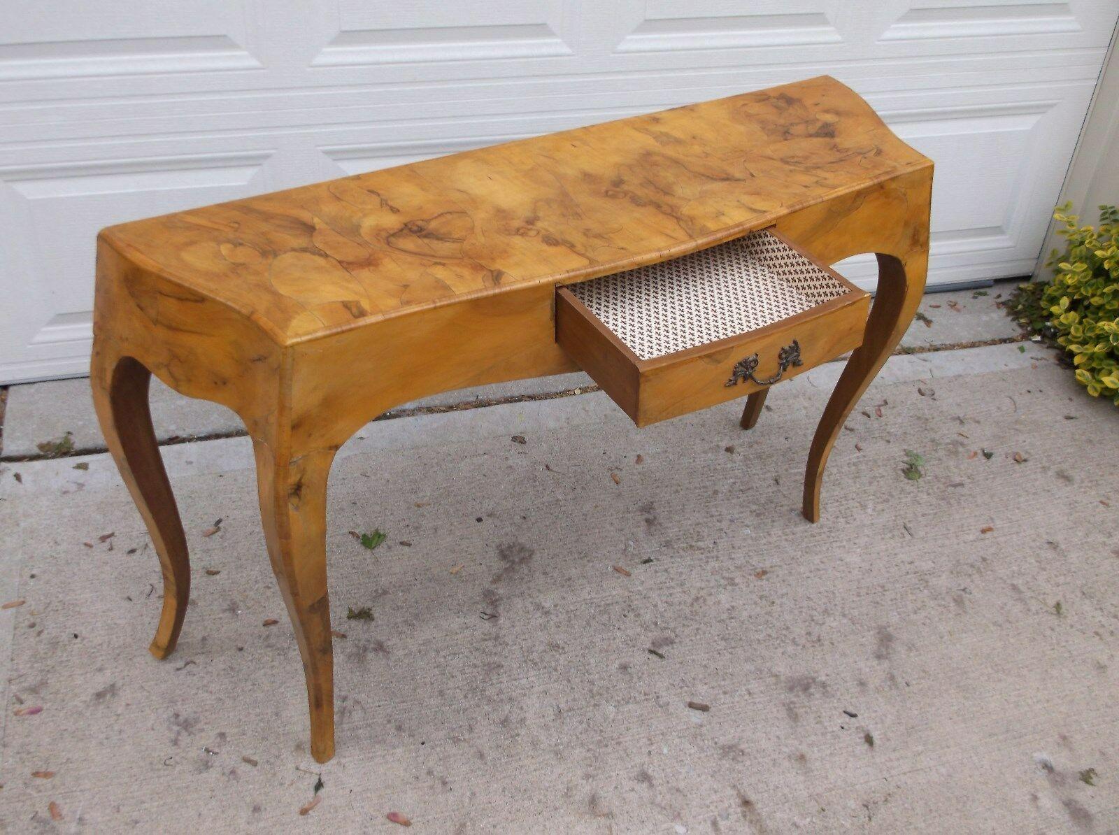 L J Newton Co French Burl Wood One Drawer Sofa Table Sofa