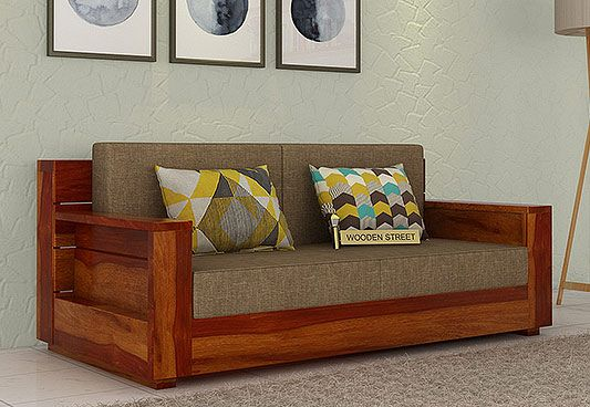 The Marriott 2 Seater Wooden Sofa In Dashing Honey Finish Is An