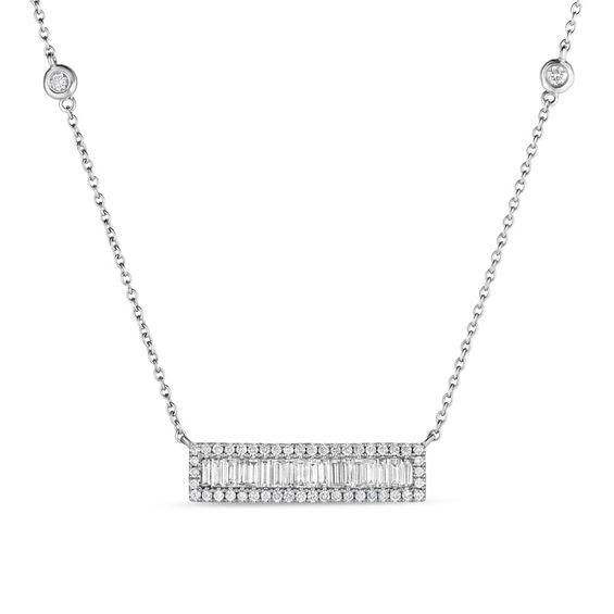 Zales 1/10 CT. T.w. Diamond Circle Station Necklace in Sterling Silver - 17 8sELMXDoY