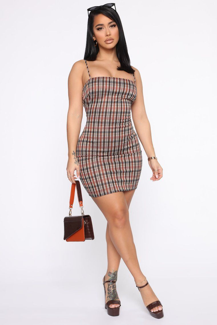 Those Days Are Over Plaid Mini Dress Rust in 2020