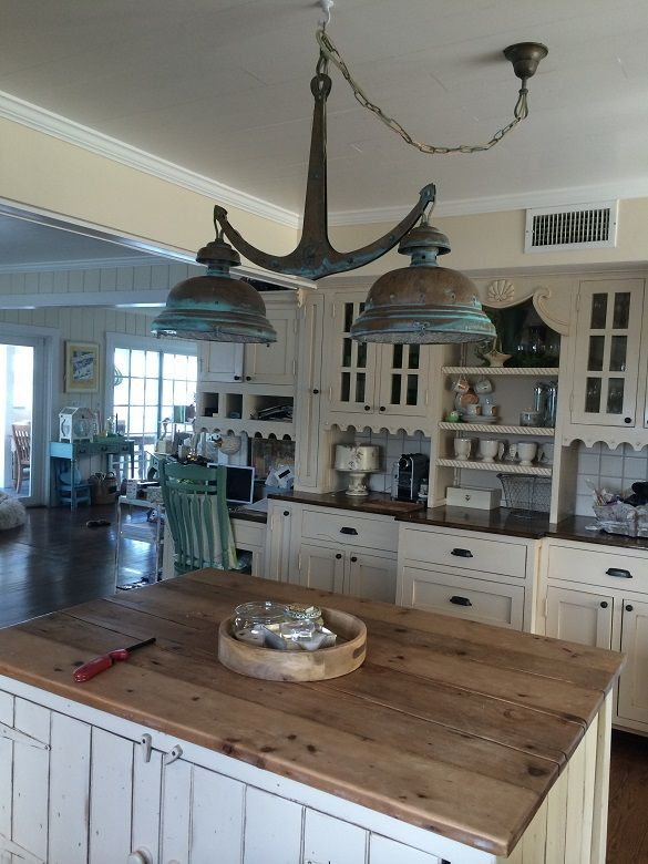 rustic beach themed kitchen decor | Rhode Island Home Lustrarte Lighting Leme Antique Green ...