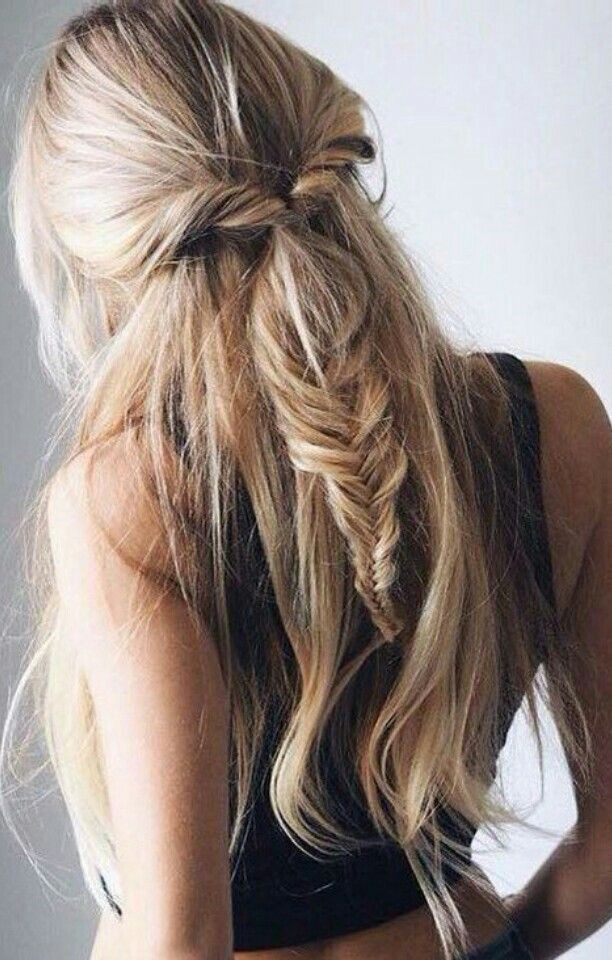 Balayage half up hair with braid #gorgeoushair