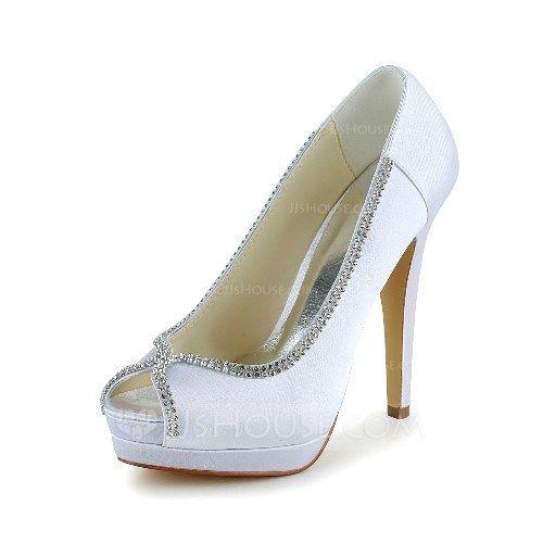 Women's Satin Stiletto Heel Peep Toe Pumps With Rhinestone (047039417) - JJsHouse