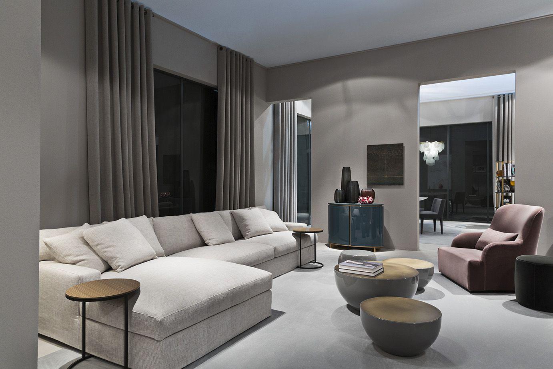 MERIDIANI I JAMES LARGE modular sofa I BONGO coffee tables I LIU ...
