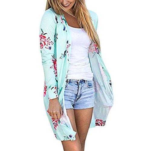 Cardigan Long Femme Boheme Chic Veste en Tricot Motif Fleurie Imprimé  Manteau Automne à Manches Longues 7920260c9975
