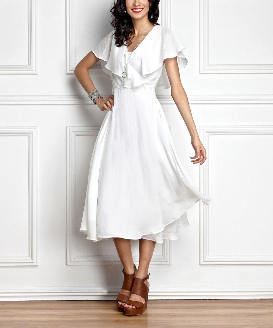 White chiffon midi dress by reborn collection zulily zulilyfinds