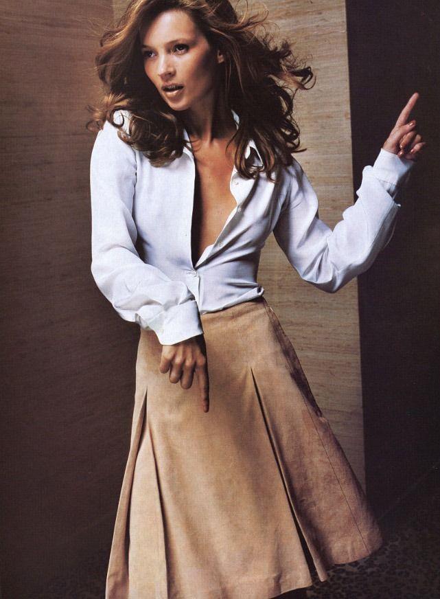 """Suede Brigade"", Vogue US, 1996 Photographer : Mario TestinoModel : Kate Moss. Trends swirl back"