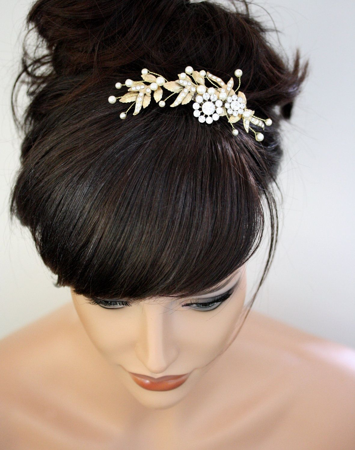 gold bridal comb leaf hair accessory beaded pearl wedding