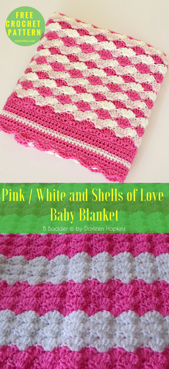 White And Pinky Baby Shells Afghan Free Crochet Pattern Pinterest