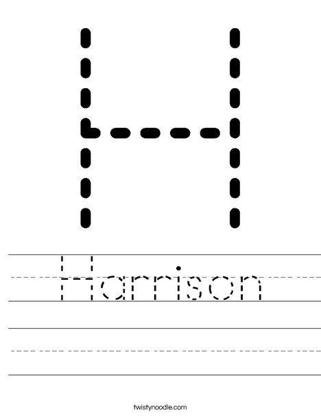 Harrison Worksheet Worksheets Name Tracing Worksheets Letter H Worksheets Free name tracing worksheets for