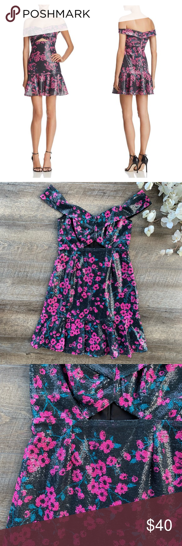 NWT WAYF Black Off the Shoulder Sequin Dress