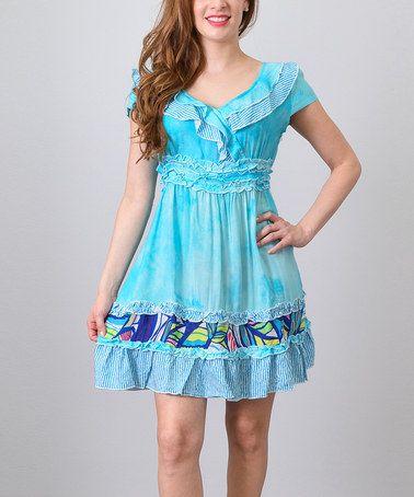 Another great find on #zulily! Blue Ruffle Cap-Sleeve Empire-Waist Dress - Women #zulilyfinds