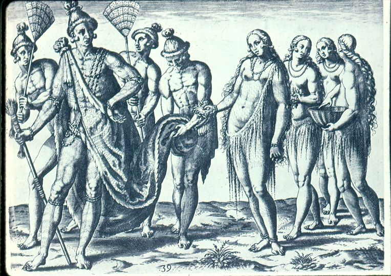 Timucua Native American Indian Tattoos The King And Queen Take A Walk Debry Engraving Of 1591 After Lemoyne 1564
