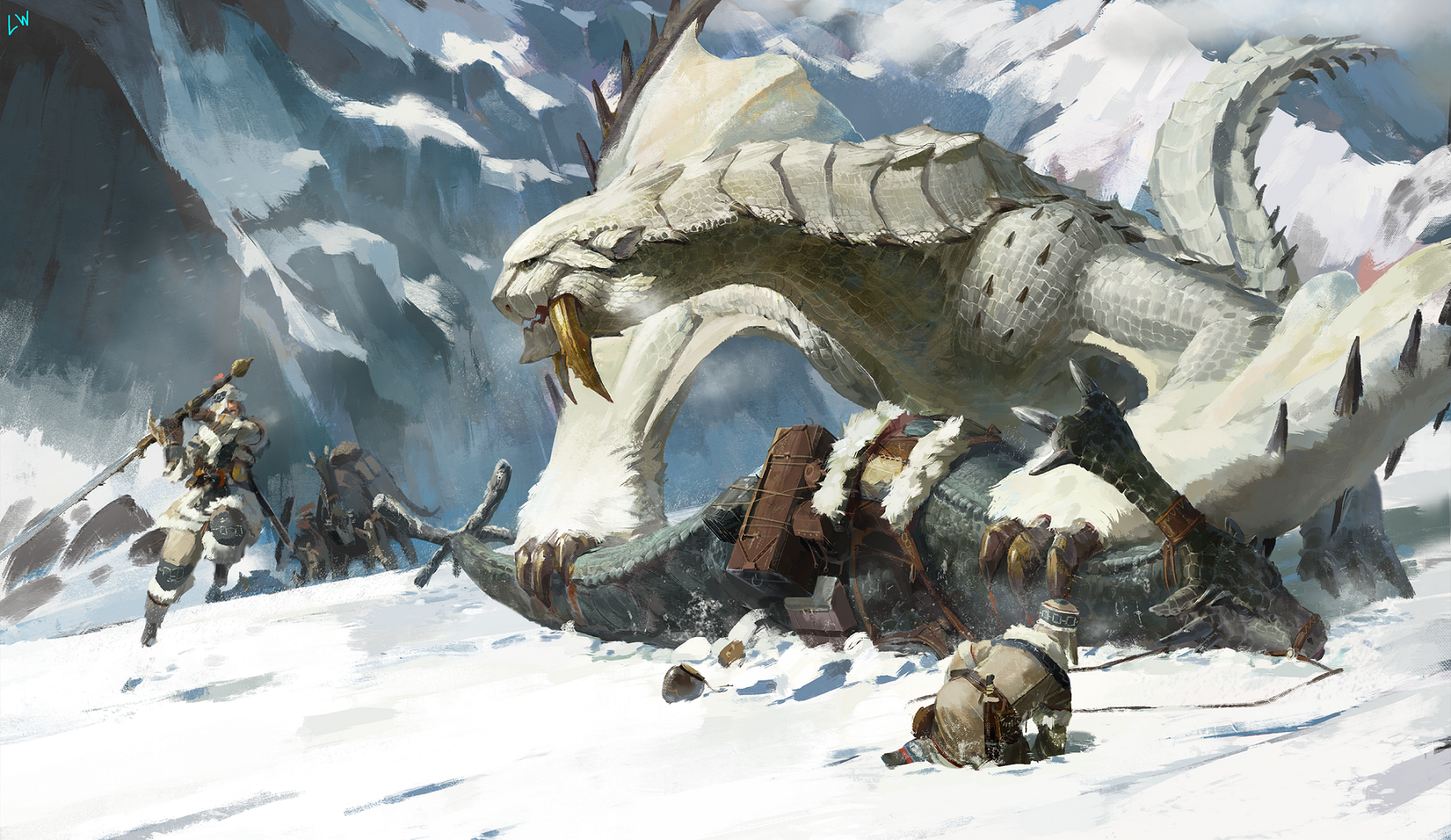 Anime 1800x1043 Monster Hunter heroic fantasy dragon snow