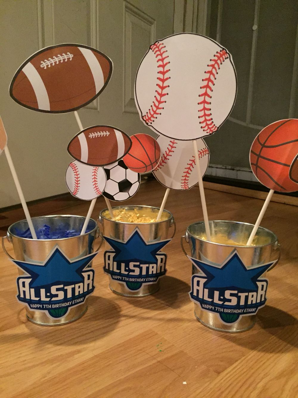 Diy sports themed center pieces Sports themed party