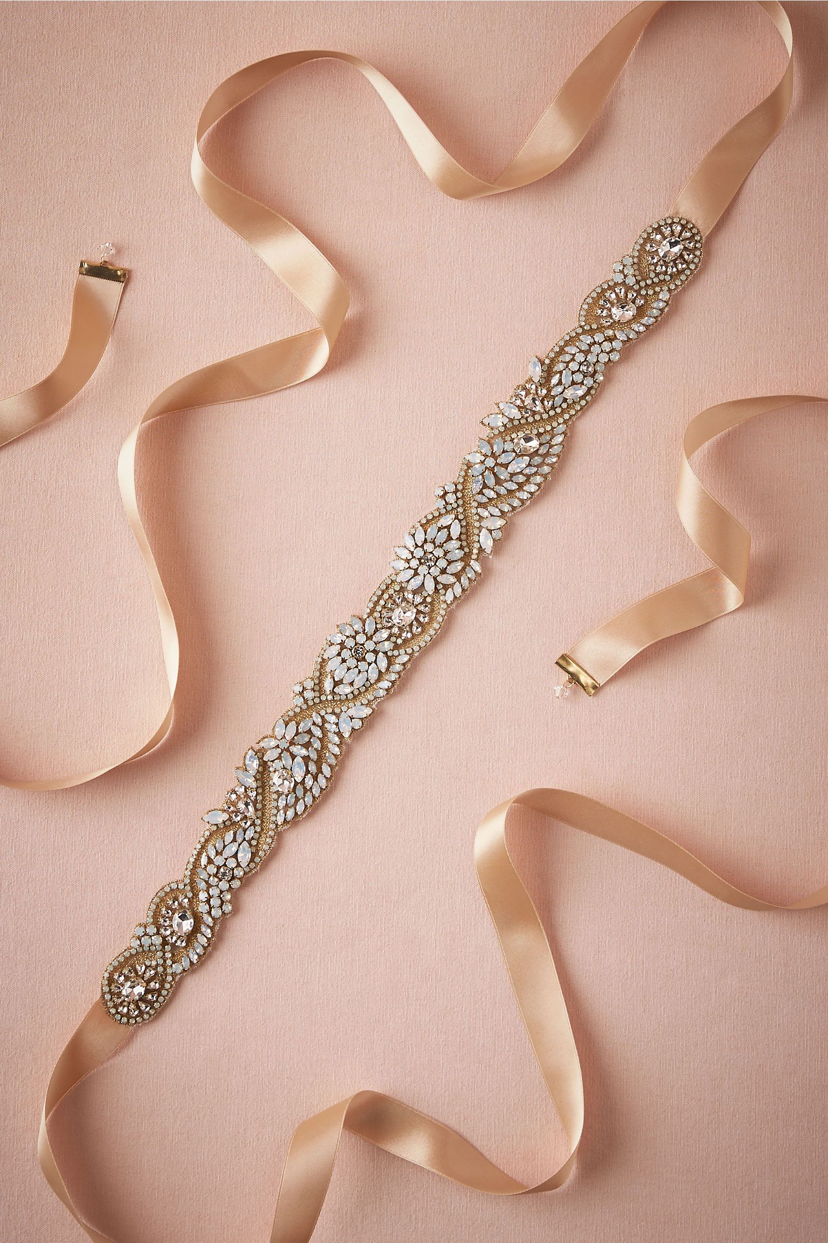 bridal sash with golden undertones | Waved Opal Belt from @BHLDN ...